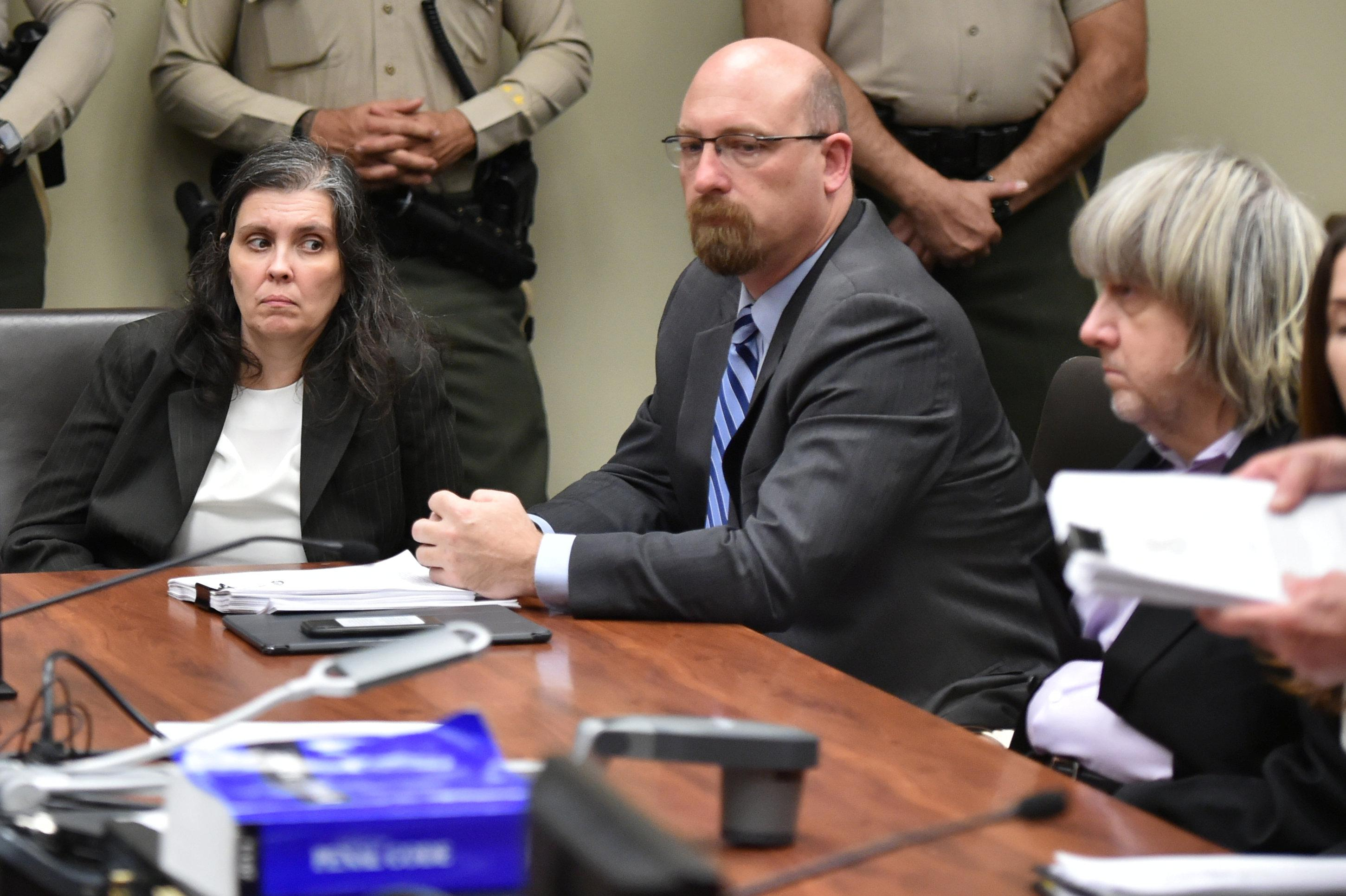 David Turpin (R) and Louise Turpin (L) appear in court for their arraignment in Riverside, California, U.S. January 18, 2018. Frederic J. Brown/Pool