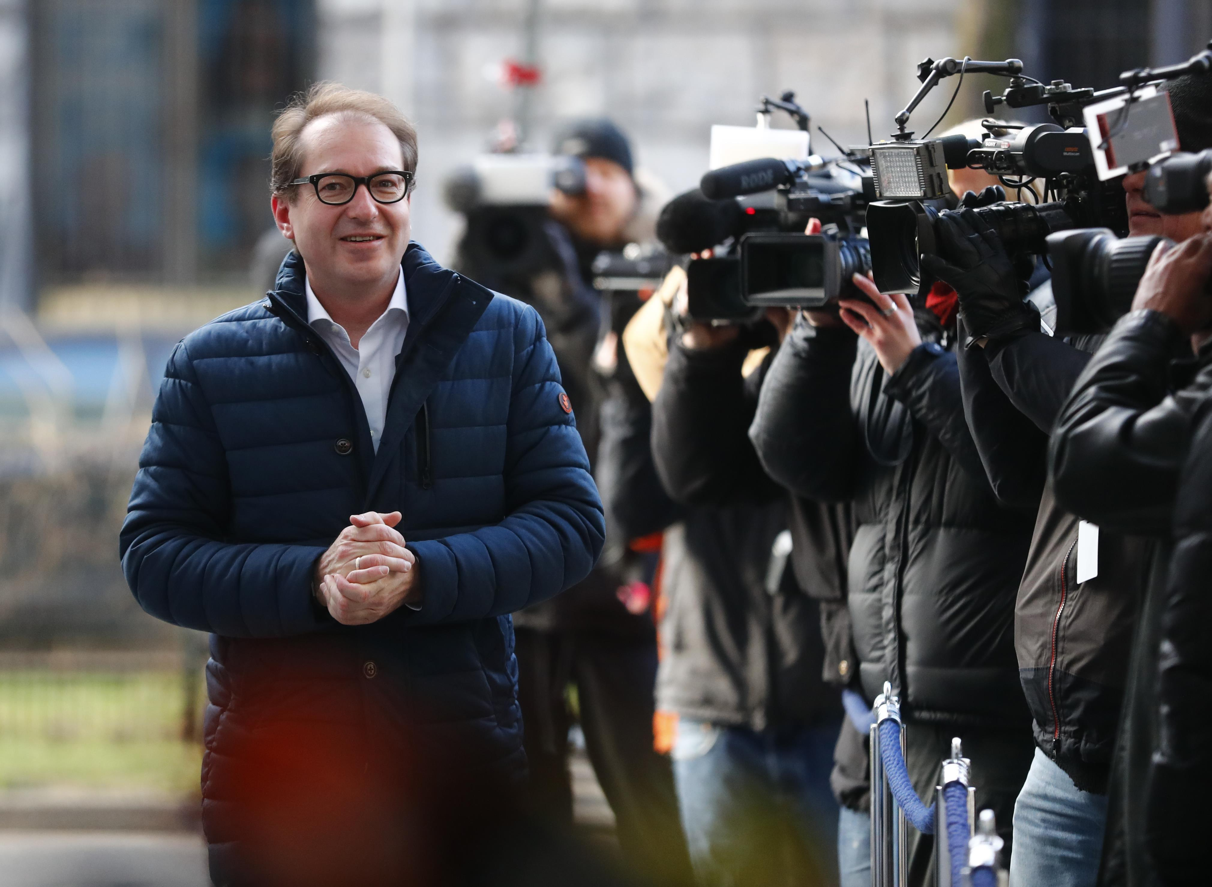 Alexander Dobrindt of the Christian Social Union (CSU) arrives for coalition talks at the Social Democratic Party (SPD) headquarters in Berlin, Germany, February 5, 2018. Hannibal Hanschke