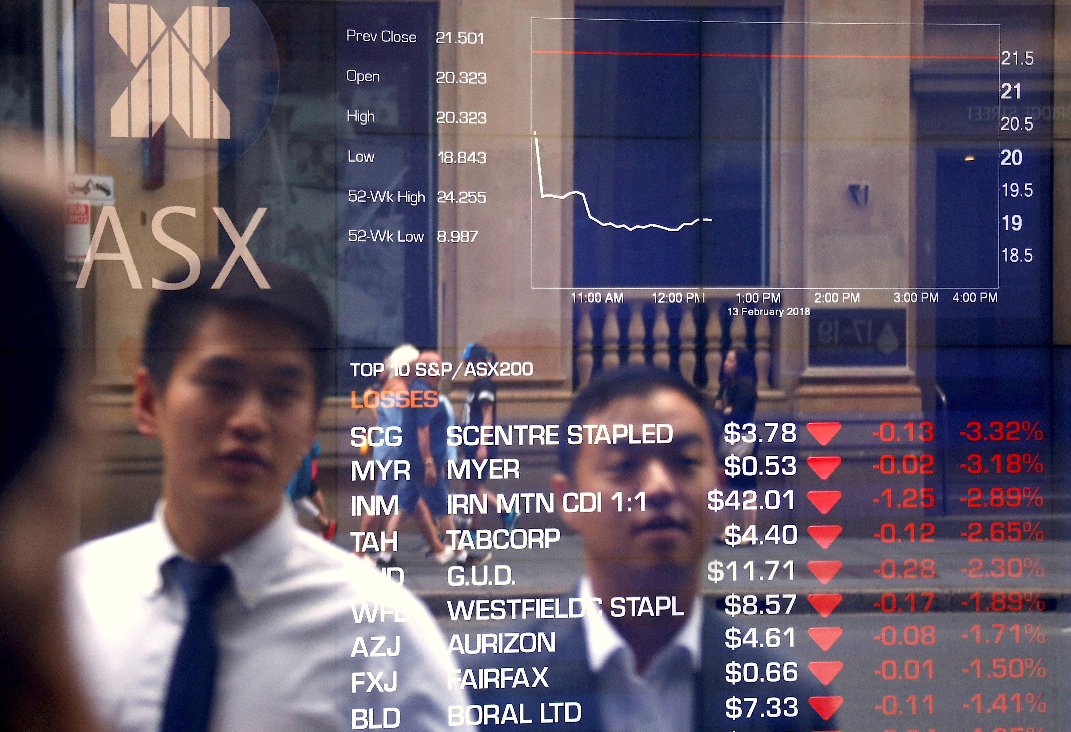 Pedestrians are reflected in a window displaying stock prices at the Australian Securities Exchange (ASX) in Sydney, Australia, February 13, 2018.   David Gray