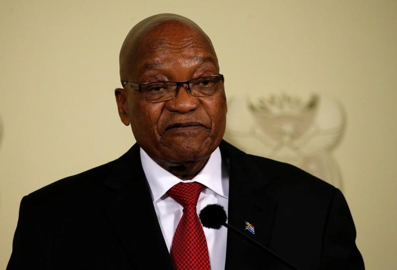 South Africa's President Jacob Zuma announces his resignation in Pretoria. Feb. 14, 2018. Siphiwe Sibeko