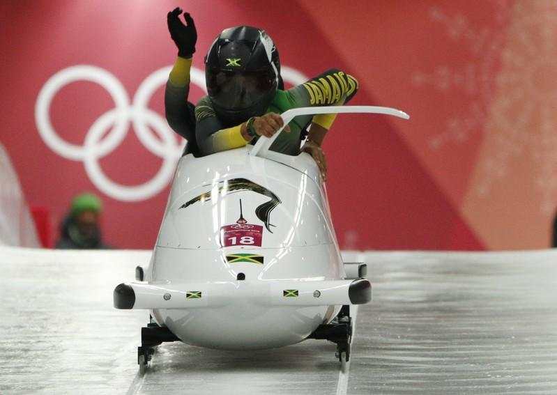 Bobsleigh - Pyeongchang 2018 Winter Olympics - Women's Competition - Olympic Sliding Centre - Pyeongchang, South Korea - February 20, 2018 - Jazmine Fenlator-Victorian and Carrie Russell of Jamaica in action. Edgar Su