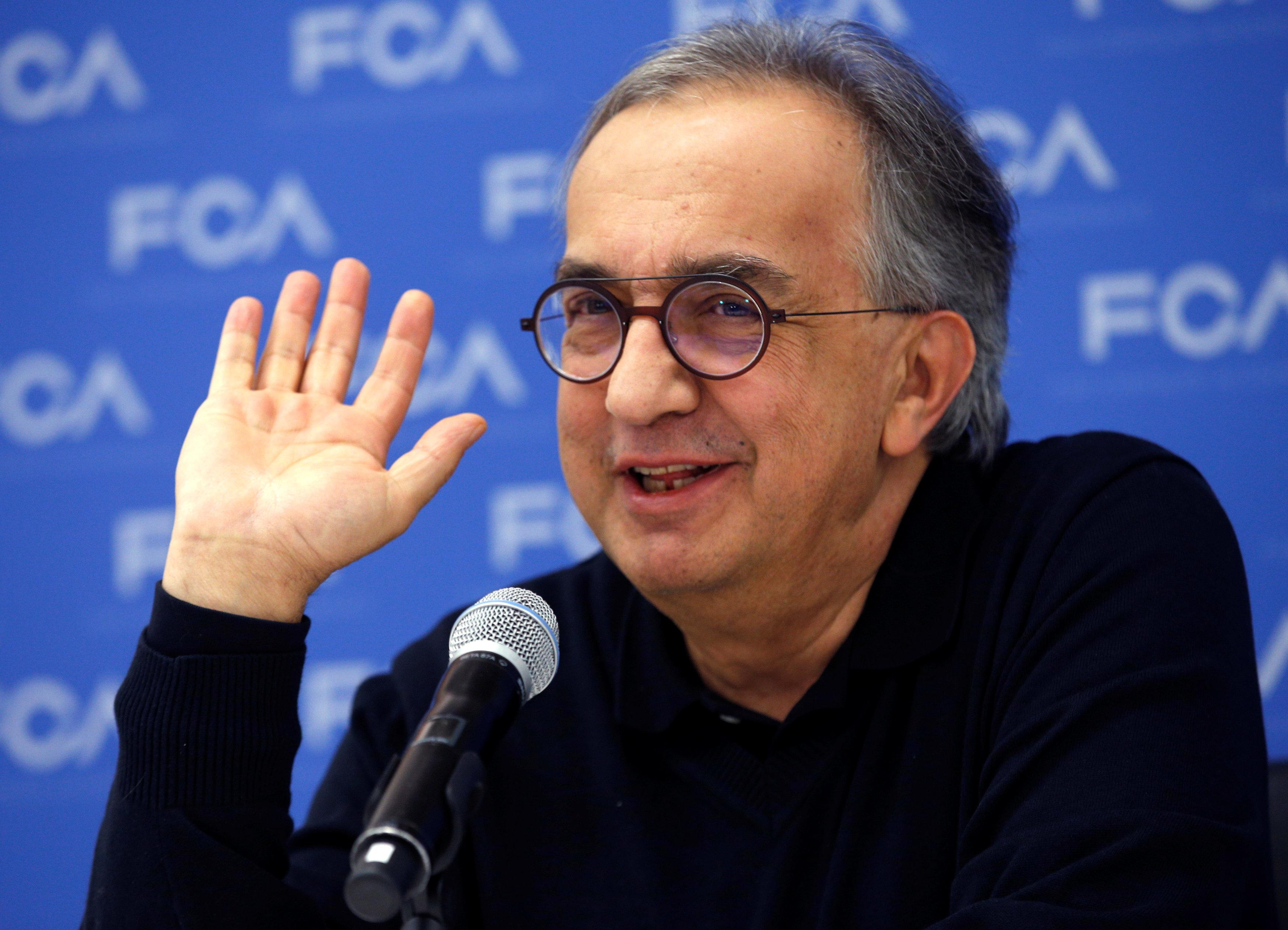 Sergio Marchionne, CEO, Fiat Chrysler Automobiles, speaks with journalists at the North American International Auto Show in Detroit, Michigan, U.S., January 15, 2018. Rebecca Cook