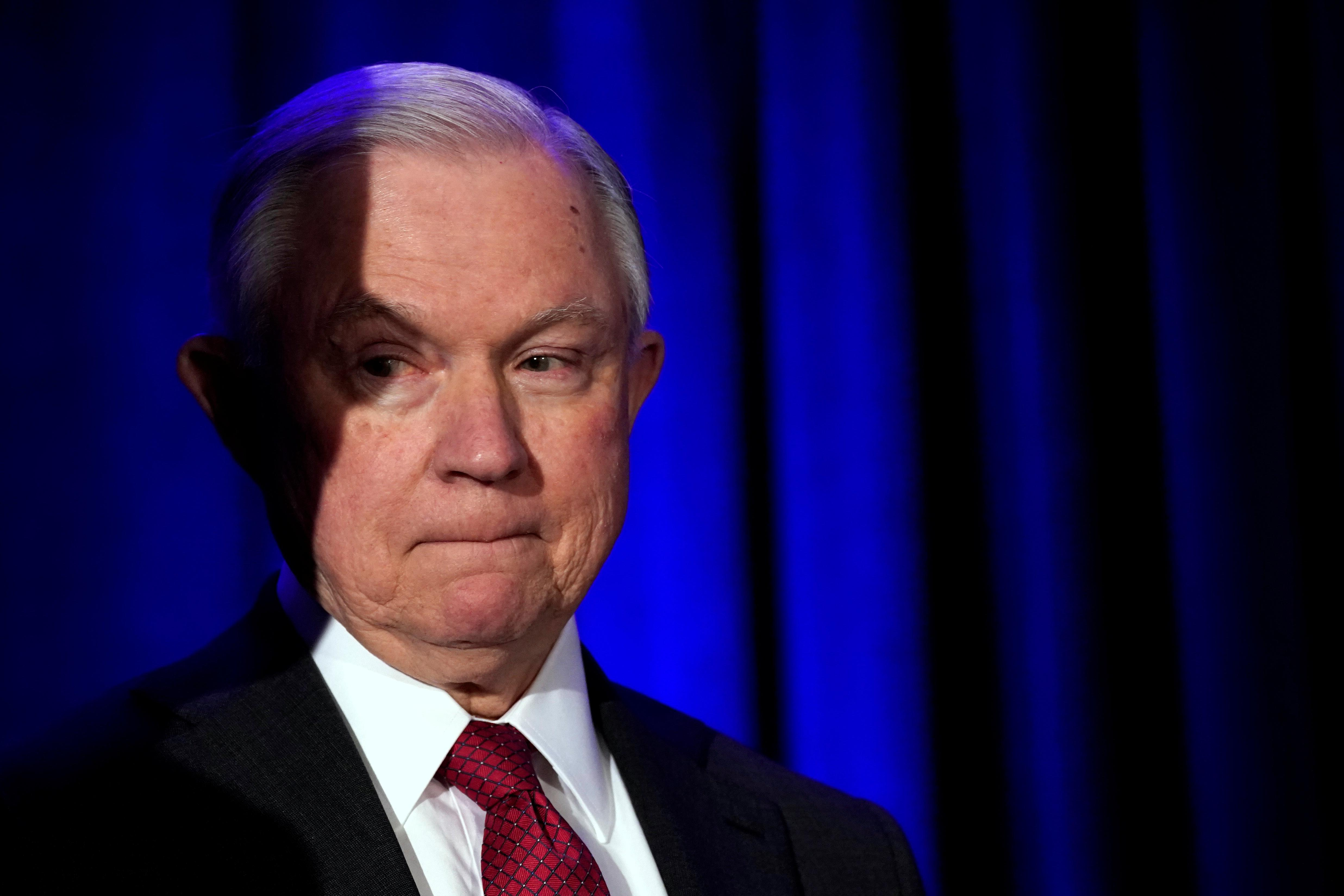 U.S. Attorney General Jeff Sessions attends the National Sheriffs Association Winter Conference in Washington, U.S., February 12, 2018. Yuri Gripas