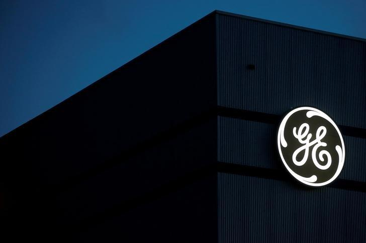 The General Electric logo is pictured on the General Electric offshore wind turbine plant in Montoir-de-Bretagne, near Saint-Nazaire, western France, November 21, 2016. Stephane Mahe