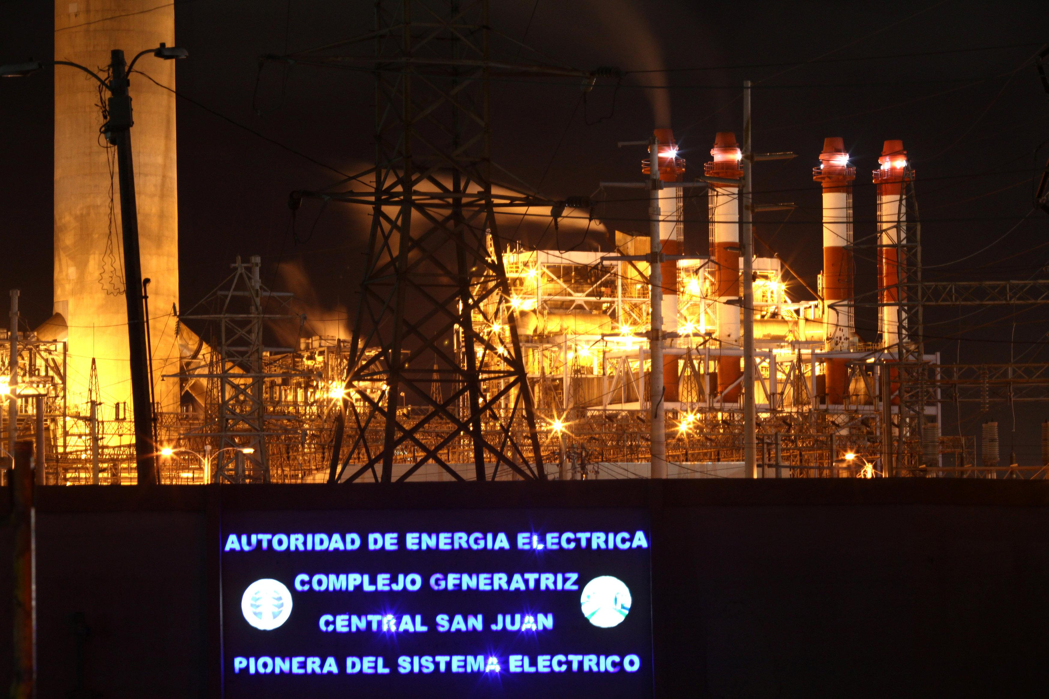 Central Palo Seco power station of the Puerto Rico Electric Power Authority (PREPA) is seen in San Juan, Puerto Rico January 22, 2018. The luminous sign reads