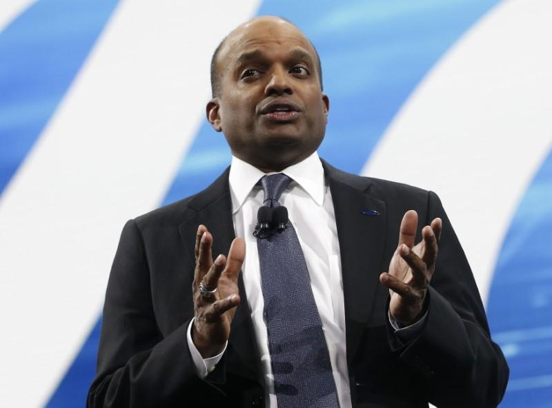 Raj Nair, Ford executive vice-president of global product development, speaks during the North American International Auto Show in Detroit, Michigan, U.S., January 9, 2017.  Rebecca Cook