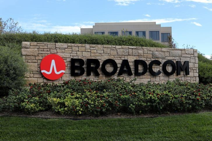 A sign to the campus offices of chip maker Broadcom Ltd is shown in Irvine, California, U.S., November 6, 2017. Mike Blake