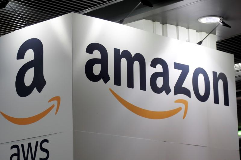 The Amazon logo is seen at the Young Entrepreneurs fair in Paris, France, February 7, 2018. Charles Platiau