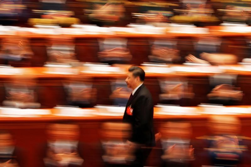 Chinese President Xi Jinping at the closing session of the National People's Congress (NPC) in Beijing, March 20, 2018.  Delegates voted to remove presidential term limits, allowing Xi to remain in office indefinitely. Damir Sagolj