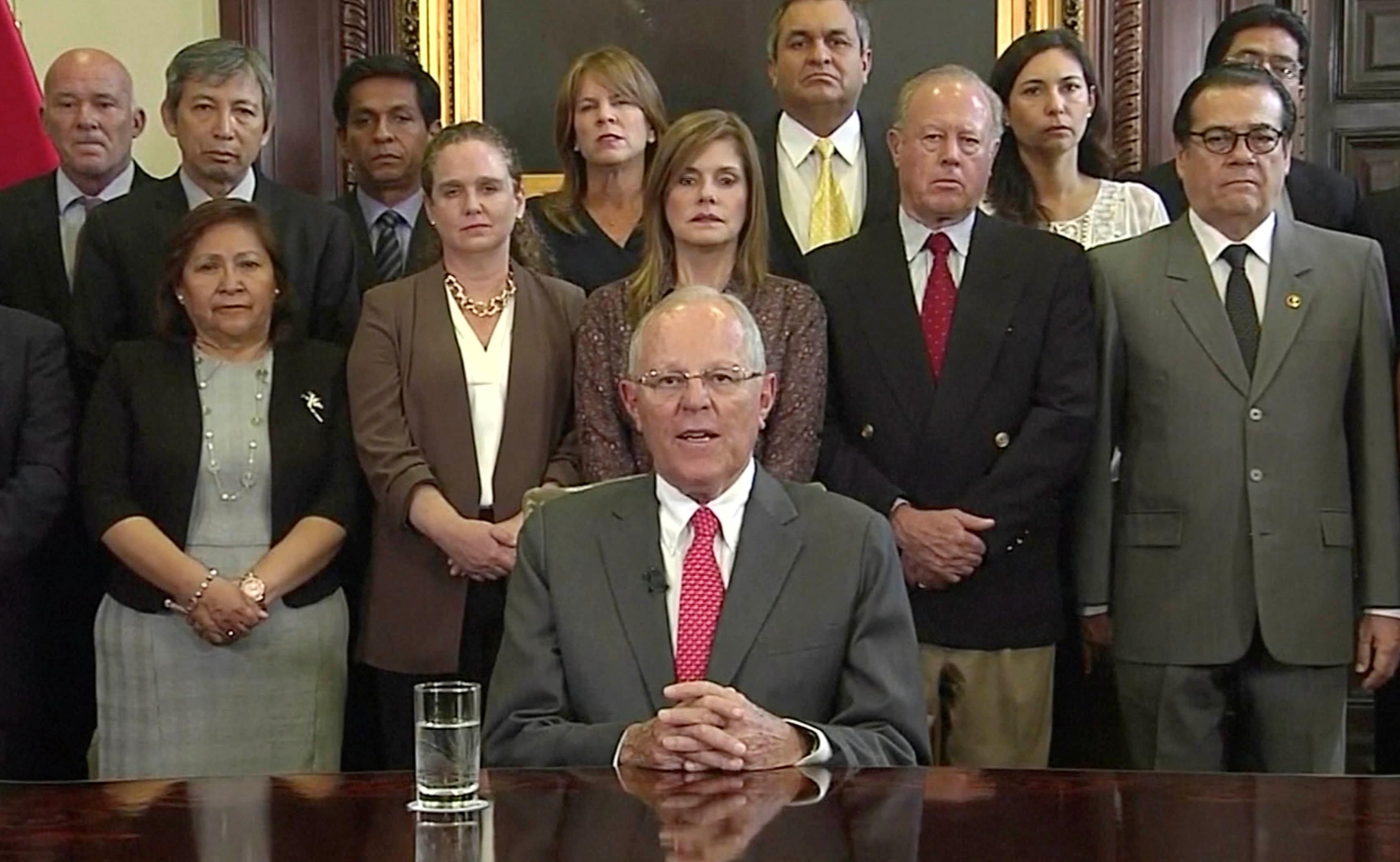 Peru's President Pedro Pablo Kuczynski is seen announcing his resignation at the Presidential Palace in Lima, Peru March 21, 2018 in this still image from video. PERU GOVERNMENT TV/AMERICA TV/Handout via