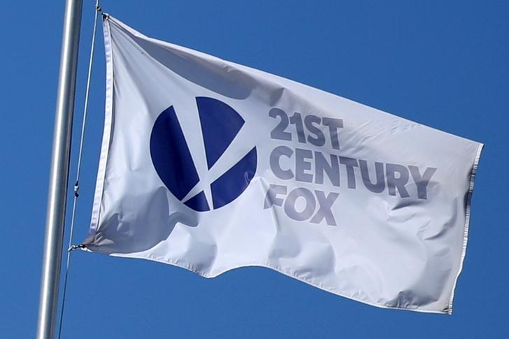 The Twenty-First Century Fox Studios flag flies over the company building in Los Angeles, California U.S. on November 6, 2017.   Lucy Nicholson