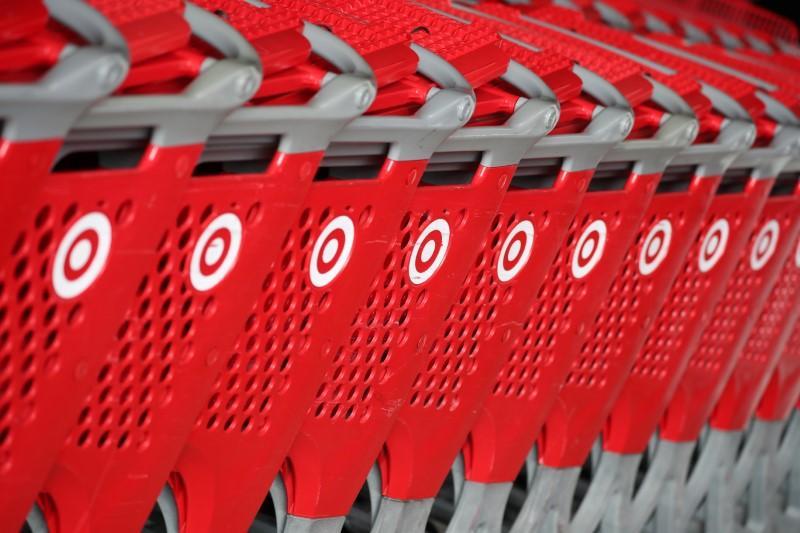 Shopping carts are seen at a Target store in Azusa, California U.S. November 16, 2017. Lucy Nicholson