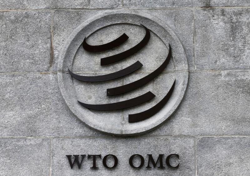 A World Trade Organization (WTO) logo is pictured on their headquarters in Geneva, Switzerland, June 3, 2016. Denis Balibouse