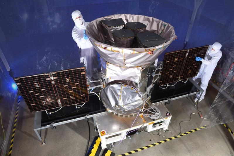 TESS, the Transiting Exoplanet Survey Satellite, is shown in this photo obtained by Reuters on March 28, 2018.  NASA plans to send TESS into orbit from the Kennedy Space Center in Florida aboard a SpaceX Falcon 9 rocket set for blastoff sometime between April 16 and June  on a two-year mission.    NASA/Handout via
