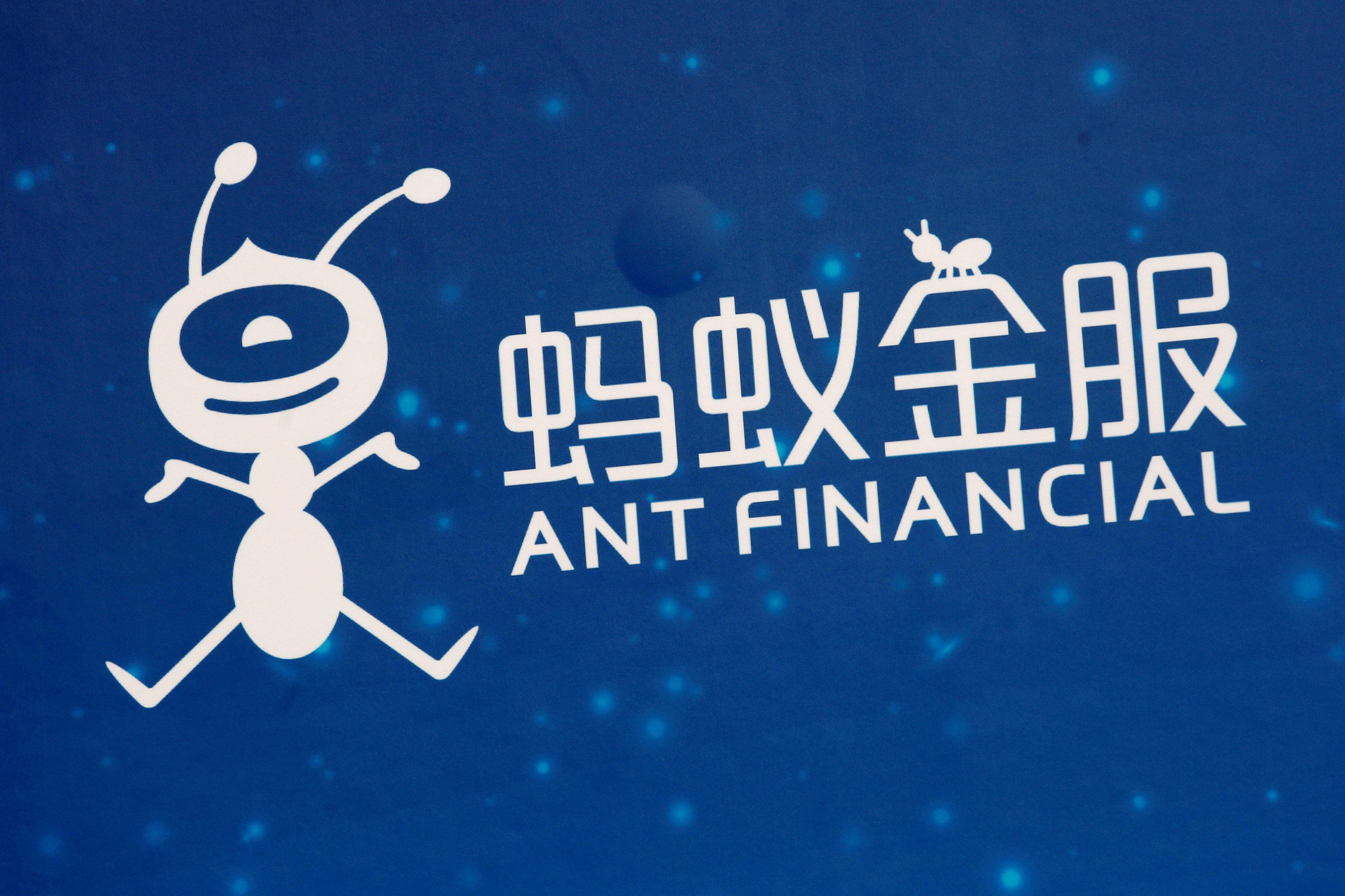 A logo of Ant Financial is displayed at the Ant Financial event in Hong Kong, China November 1, 2016. Bobby Yip