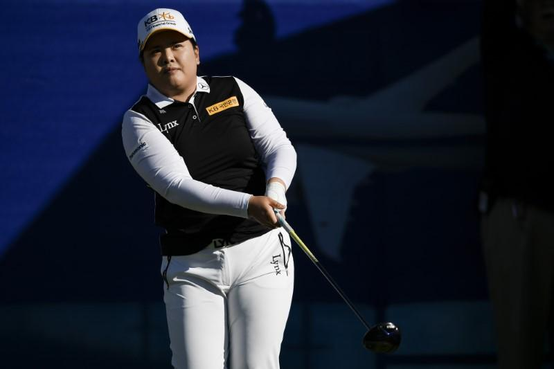 Apr 2, 2018; Rancho Mirage, CA, USA; Inbee Park tees off on the 10th hole during the playoff in the ANA Inspiration women's golf tournament at Mission Hills Country Club. Mandatory Credit: Kelvin Kuo-USA TODAY Sports