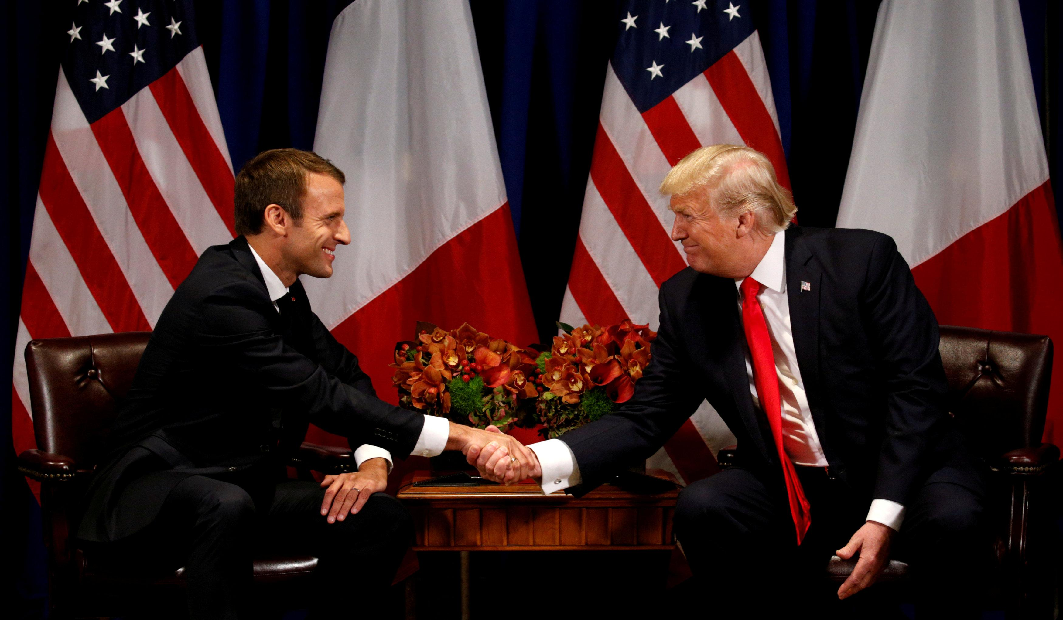 U.S. President Donald Trump meets French President Emmanuel Macron in New York, U.S., September 18, 2017. Kevin Lamarque