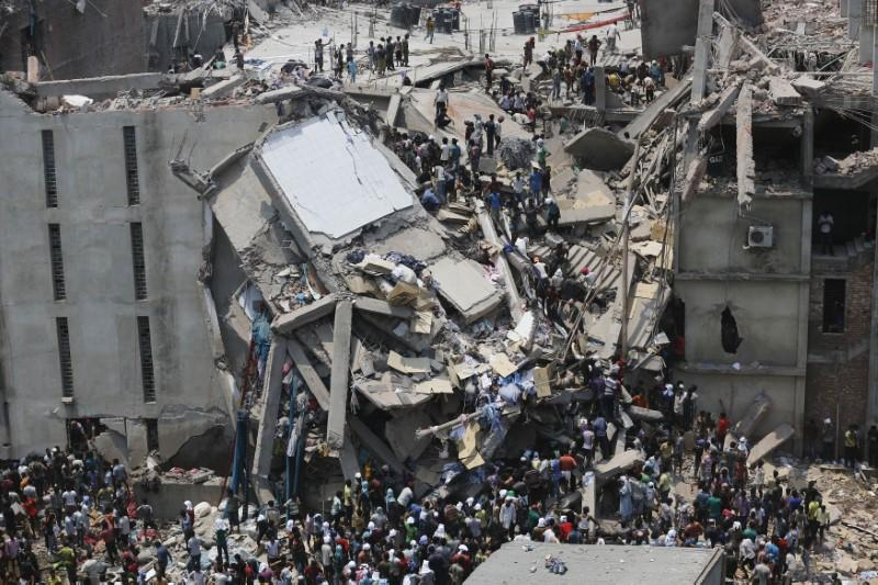 The ruins of the Rana Plaza complex after its collapse on the outskirts of the Bangladeshi capital of Dhaka on April 24, 2013.  Andrew Biraj