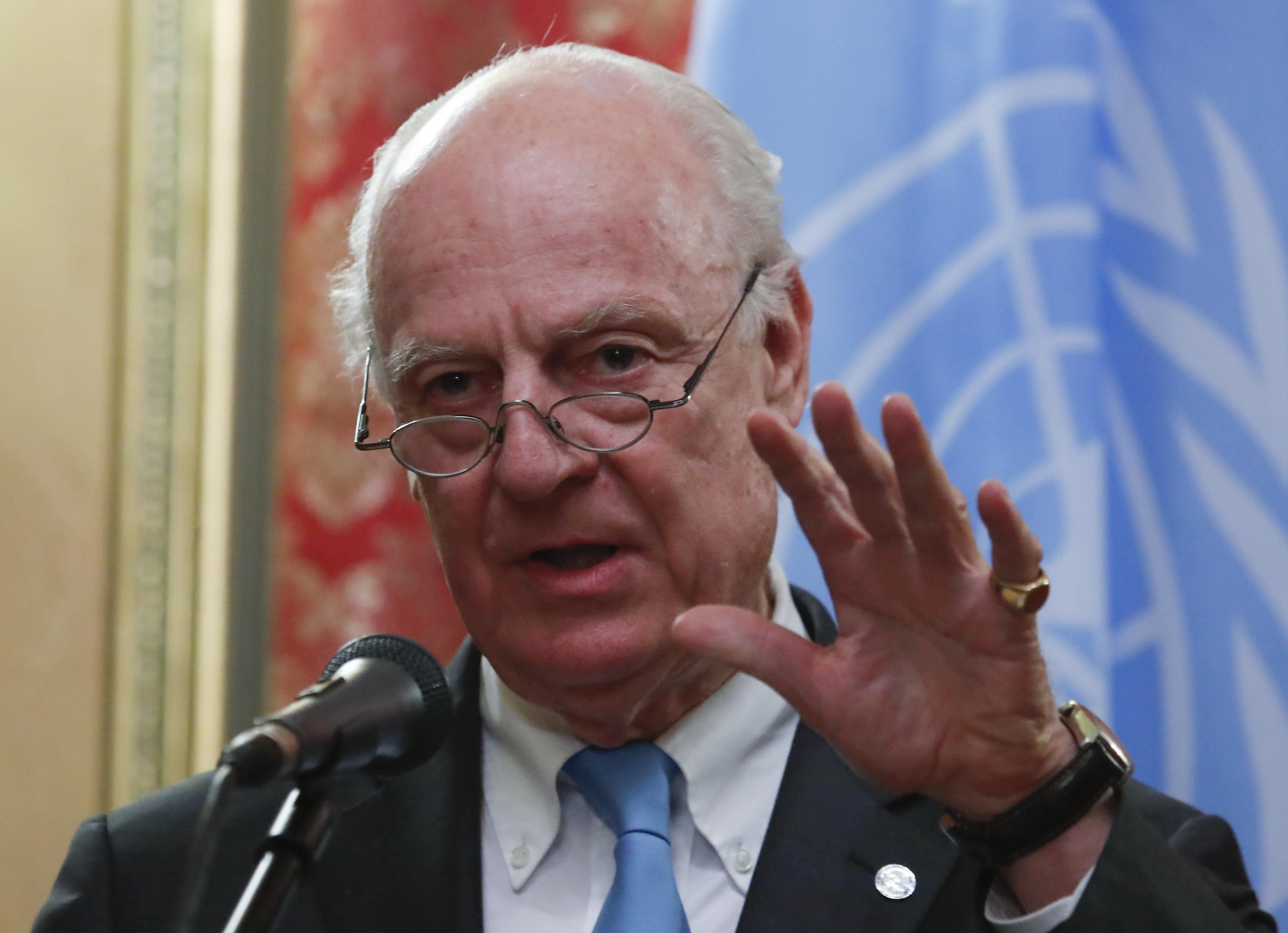 U.N. Syria envoy Staffan de Mistura speaks during a joint news conference with Russian Foreign Minister Sergei Lavrov following their meeting in Moscow, Russia April 20, 2018. Maxim Shemetov