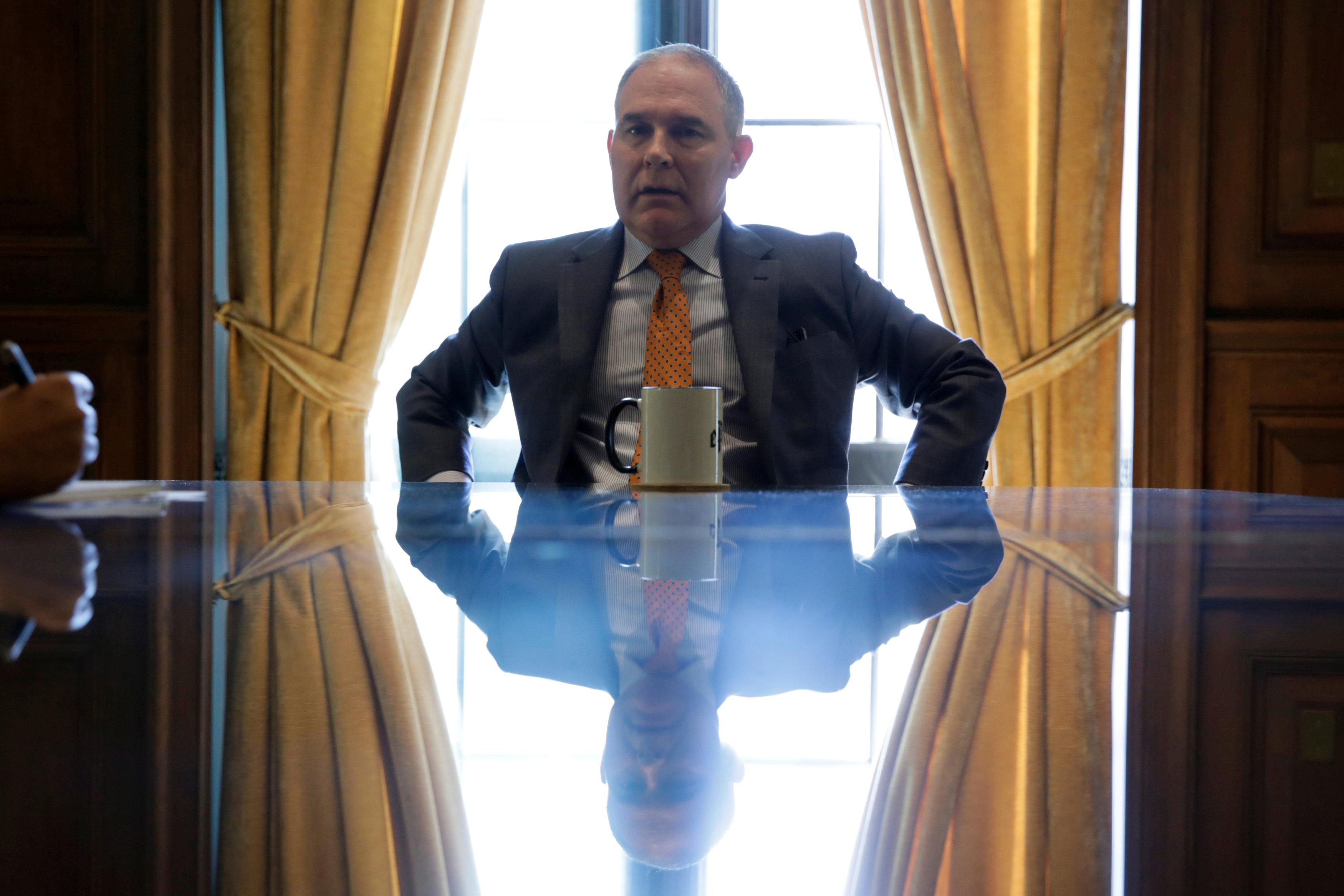 Environmental Protection Agency Administrator Scott Pruitt speaks during an interview at his office in Washington, U.S., July 10, 2017.  Yuri Gripas