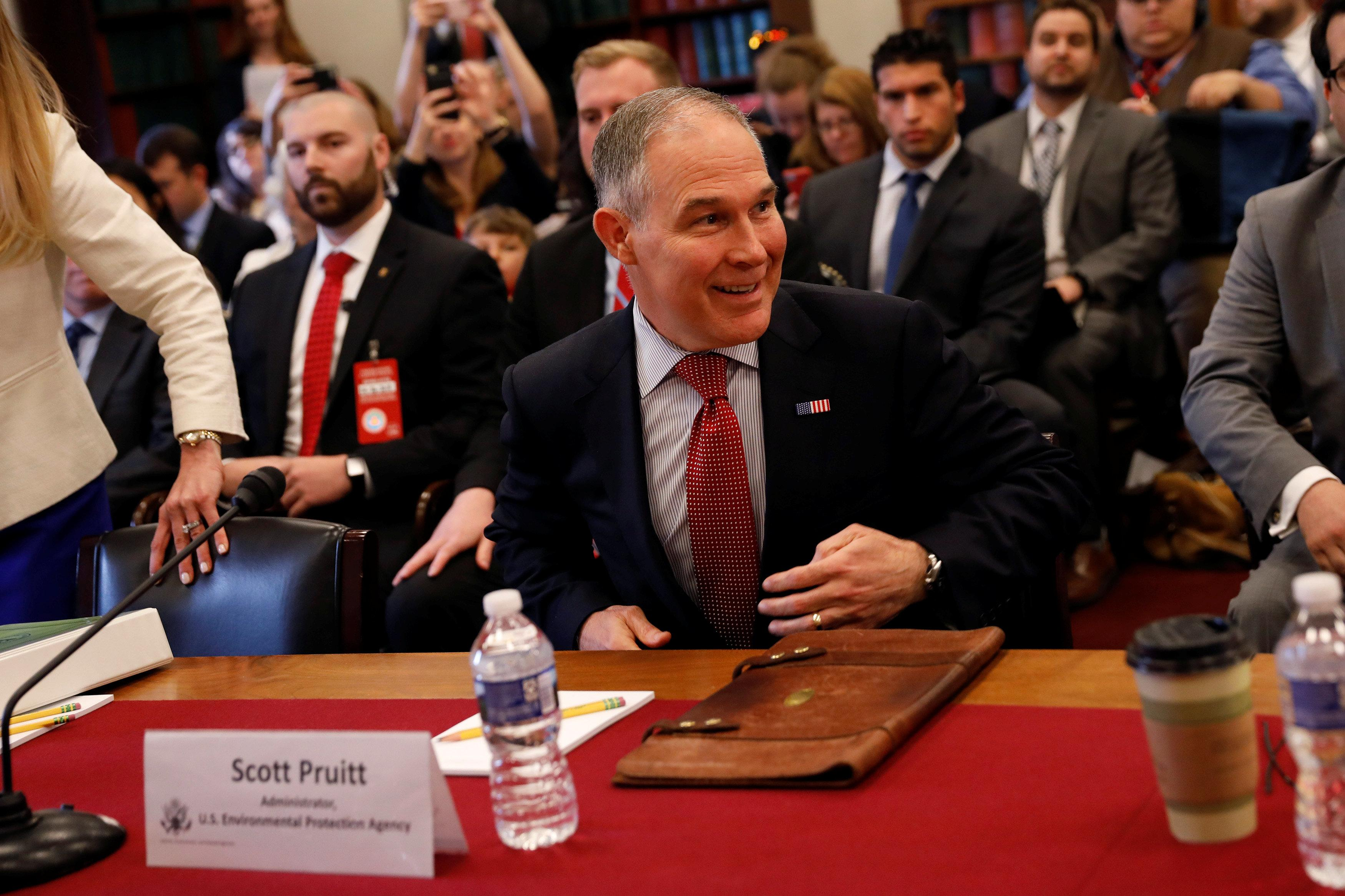 Epa administrator scott pruitt arrives to testify before the house appropriations committee subcommittee on interior