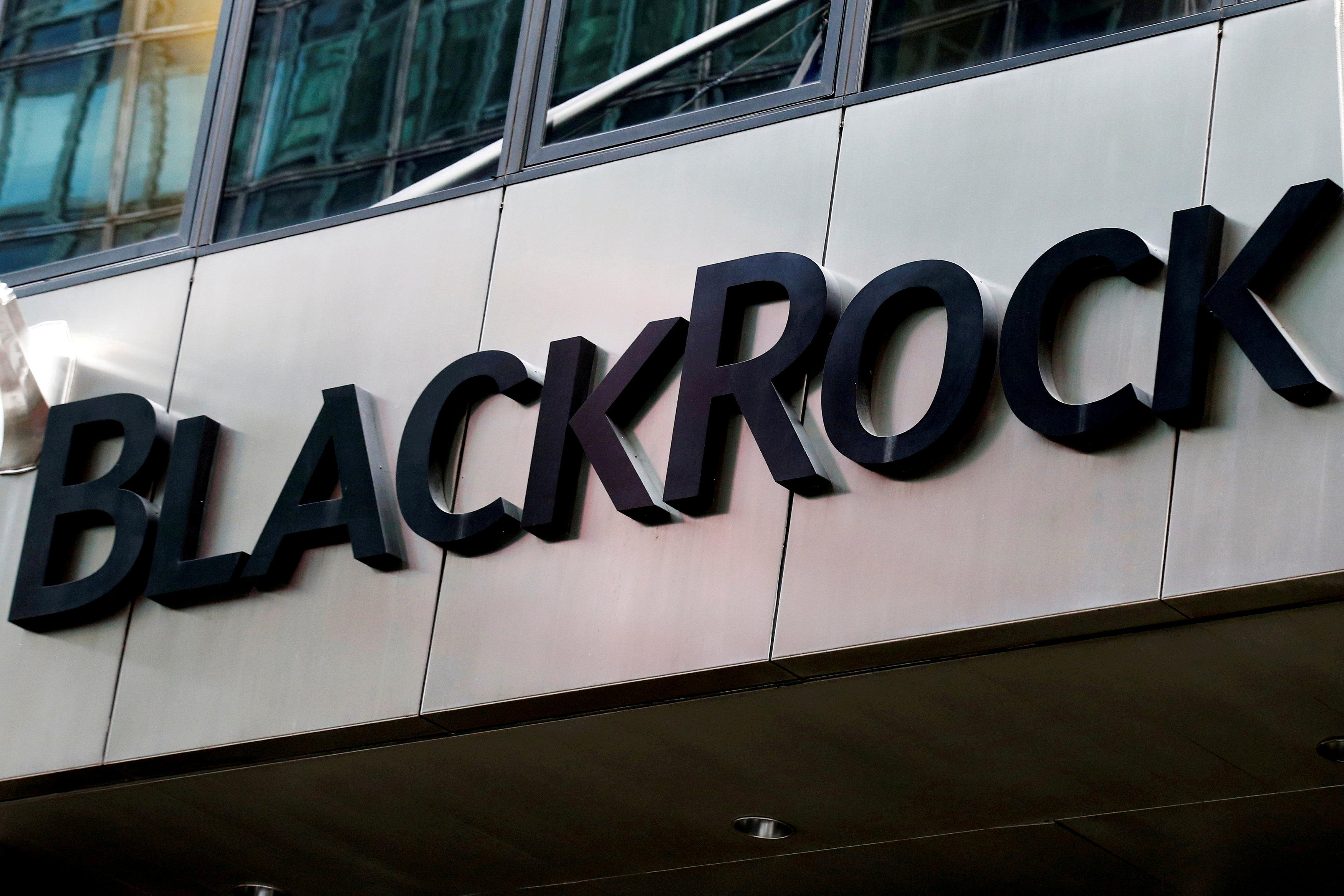 The BlackRock logo is seen outside of its offices in New York City, NY, U.S., October 17, 2016.  Brendan McDermid