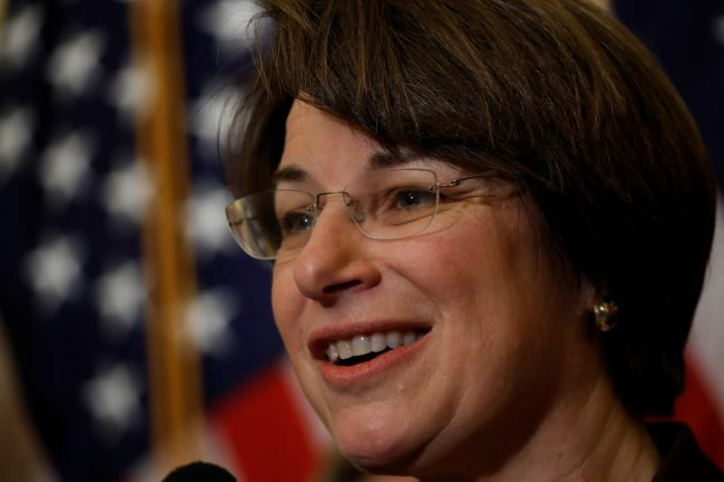 Sen. Amy Klobuchar speaks at a news conference to unveil congressional Democrat's