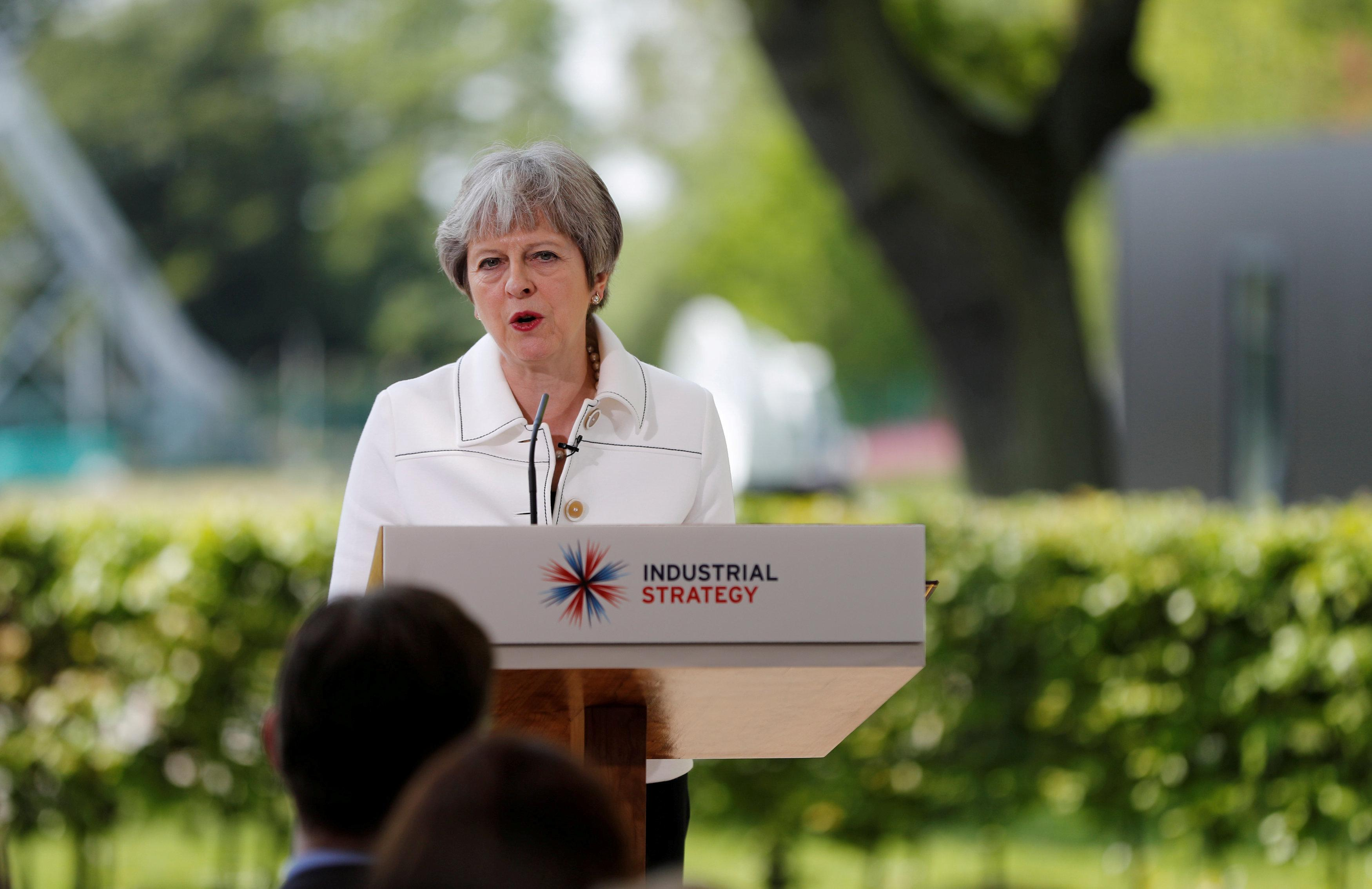 Britain's Prime Minister, Theresa May, speaks on science and the Industrial Strategy at Jodrell Bank in Macclesfield, Britain May 21, 2018.  Darren Staples/Pool