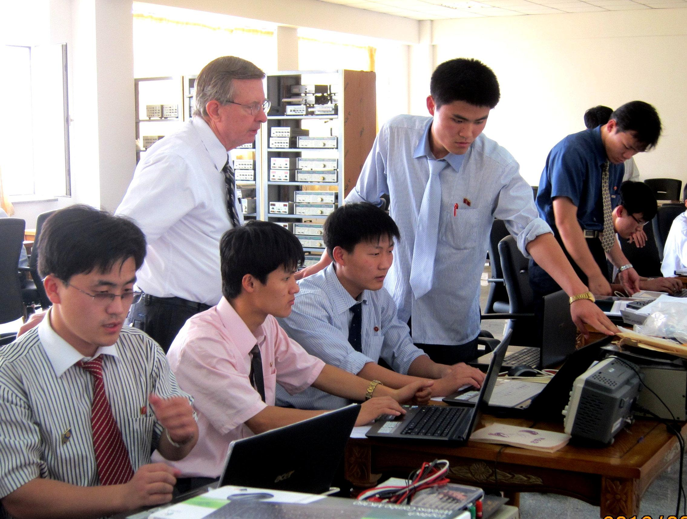 Students of Pyongyang University of Science and Technology (PUST) attend a class at PUST in Pyongyang, North Korea, in this undated picture provided by Yu-Taik Chon, president of Pyongyang University of Science and Technology (PUST) on June 18, 2018.    Yu-Taik Chon/Handout via