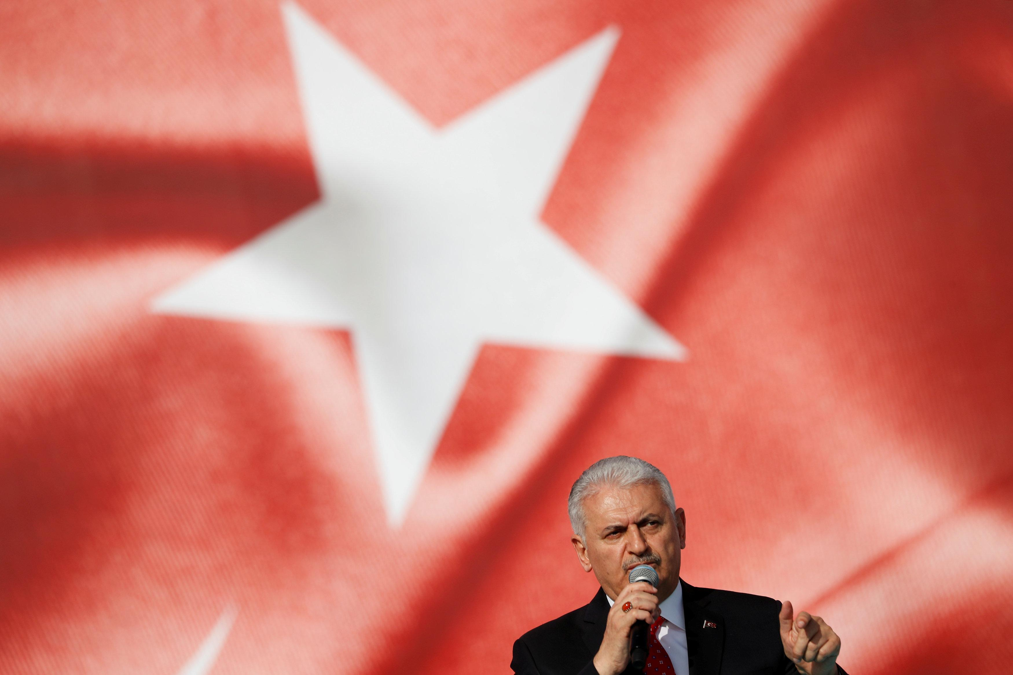 Turkish Prime Minister Binali Yildirim delivers a speech in Istanbul, Turkey May 18, 2018. Murad Sezer