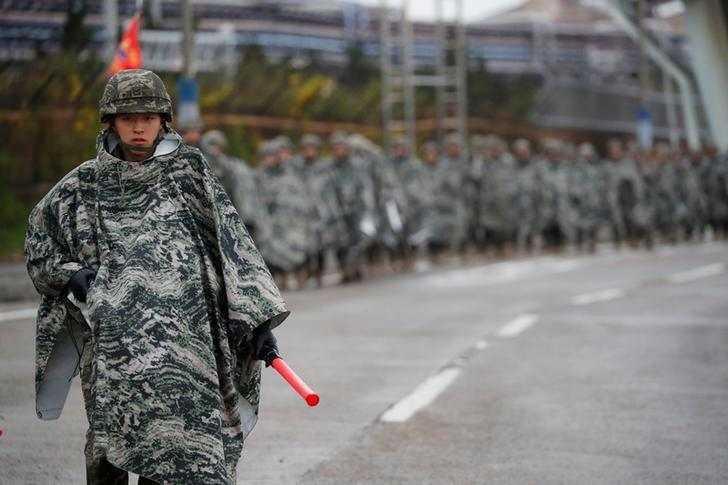 South Korean marines march during a military exercise as a part of the annual joint military training called Foal Eagle between South Korea and the U.S. in Pohang, South Korea, April 5, 2018. Kim Hong-Ji