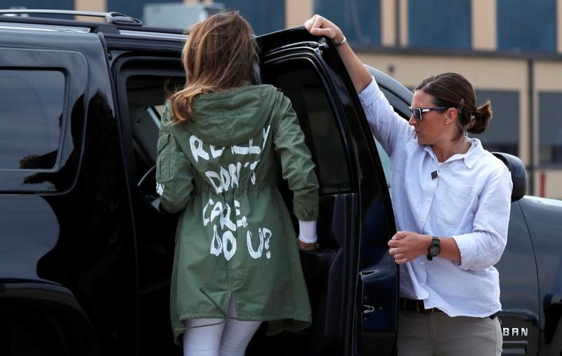U.S. first lady Melania Trump walks from her to her motorcade wearing a Zara design jacket with the phrase