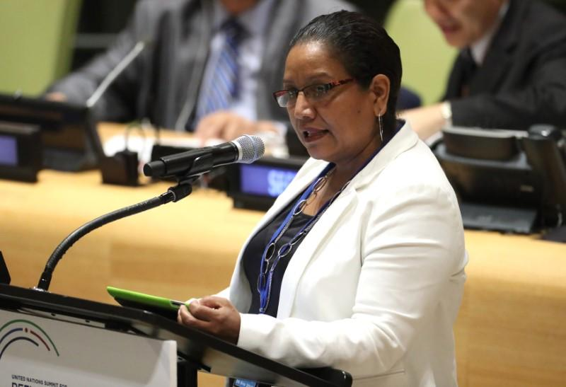 El Salvador's Vice Minister for Salvadorans Abroad Liduvina Magarin speaks during a high-level meeting on addressing large movements of refugees and migrants at the United Nations General Assembly in Manhattan, New York, U.S. September 19, 2016. Carlo Allegri