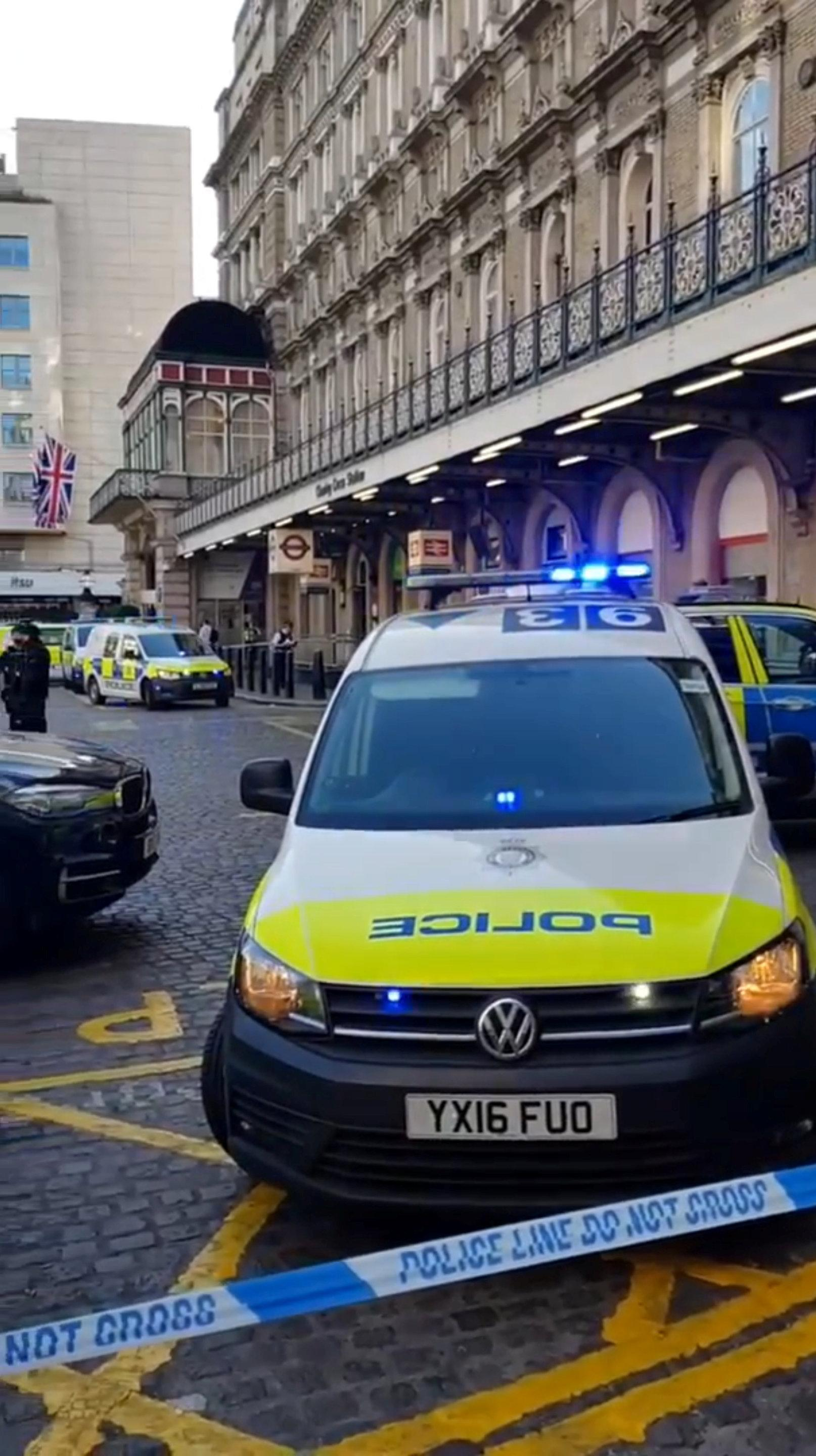 Emergency vehicles, with lights flashing stand outside Charing Cross Station in London, Britain, June 22, 2018 in this still image obtained from social media.  COURTESY CECILIA ROCHE /via  THIS IMAGE HAS BEEN SUPPLIED BY A THIRD PARTY. MANDATORY CREDIT. NO RESALES. NO ARCHIVES.