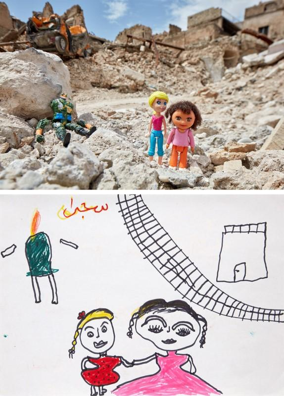A drawing by an Iraqi child shows two siblings fleeing next to a dismembered body, next to a photo rendition in the old city of Mosul, Iraq, in this handout obtained by Reuters on July 9, 2018. Brian McCarty/Handout via Reuters