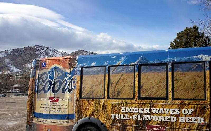A tour bus is parked outside the Coors brewery in Golden, Colorado February 12, 2014.    Rick Wilking
