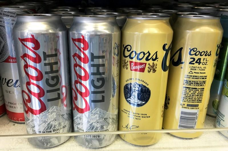 Coors beer cans are seen for sale at a store in Manhattan, New York, U.S., April 29, 2016. Shannon Stapleton