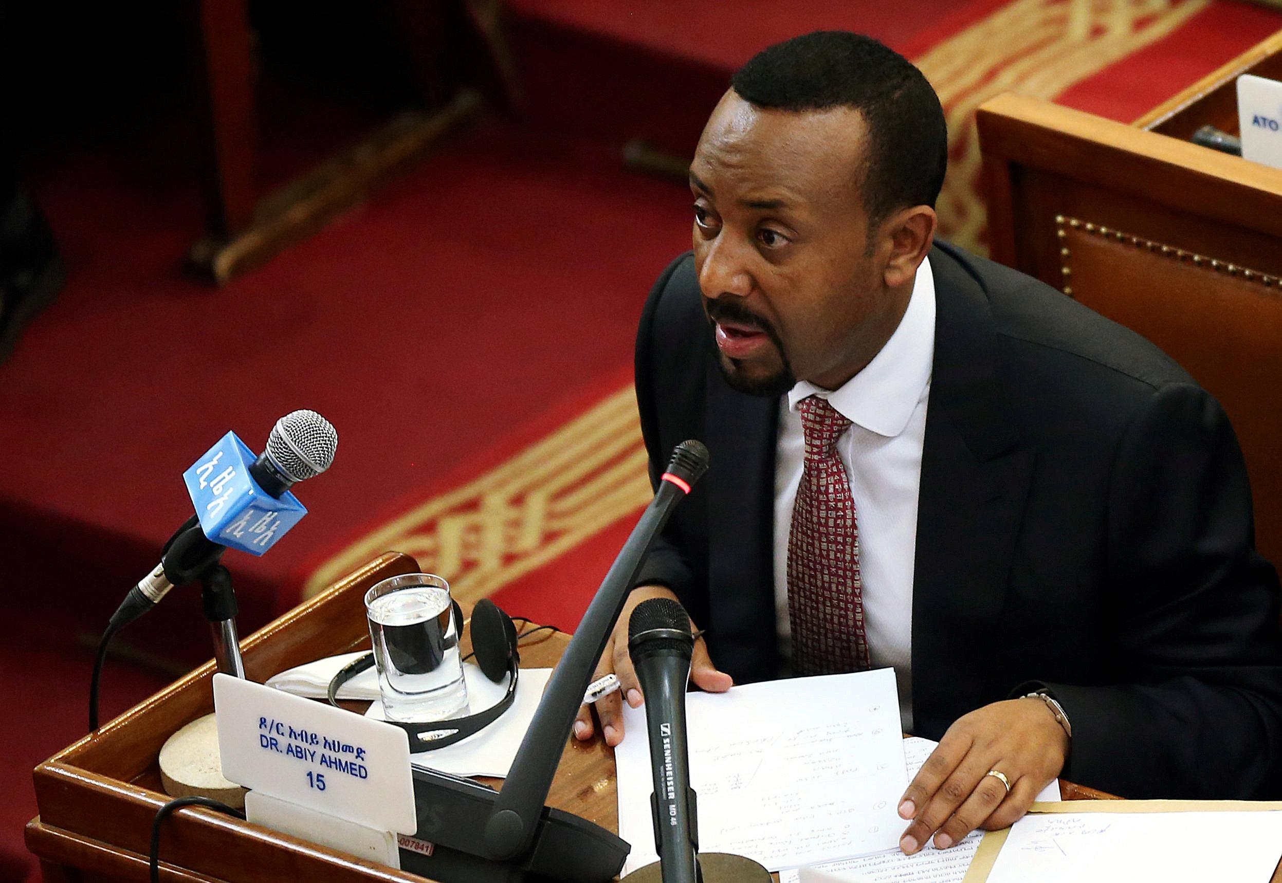 Ethiopia's newly elected Prime Minister Abiy Ahmed addresses the members of parliament inside the House of Peoples' Representatives in Addis Ababa, Ethiopia April 19, 2018. Tiksa Negeri
