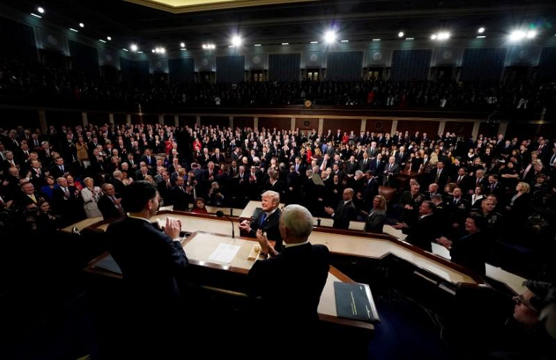 U.S. President Donald Trump delivers his State of the Union address to a joint session of the U.S. Congress on Capitol Hill in Washington, January 30, 2018. Jim Bourg