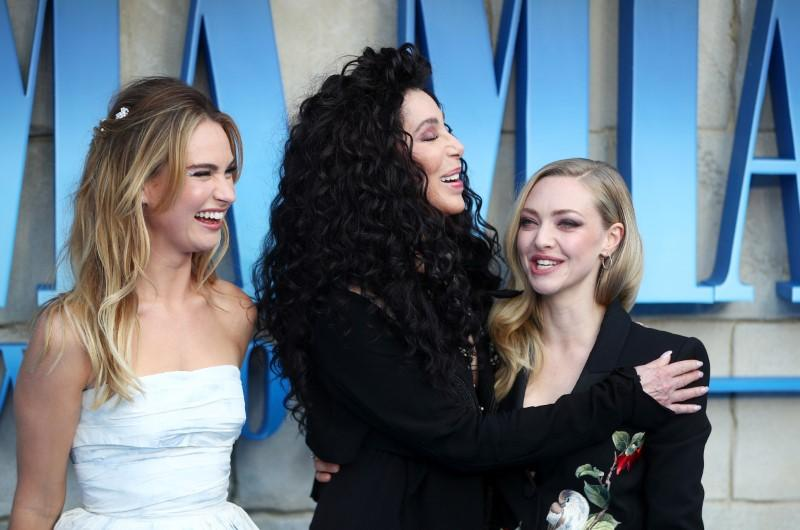 Cher, Lilly James and Amanda Seyfried attend the world premiere of Mamma Mia! Here We Go Again at the Apollo in Hammersmith, London, Britain, July 16, 2018. Hannah McKay