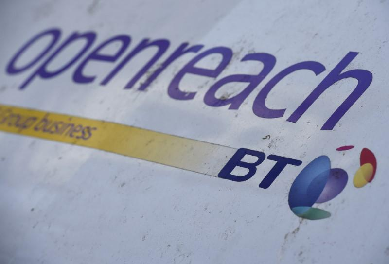 A logo is seen on a BT Openreach engineer's van parked in central London, Britain, February 29, 2016. Toby Melville