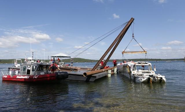 July 23, 2018; Branson, MO, USA;  The duck boat that sank last week on Table Rock Lake killing 17 people has been raised from the bottom by crews on Monday, July 23, 2018. Mandatory Credit: Nathan Papes/News-Leader via USA TODAY NETWORK