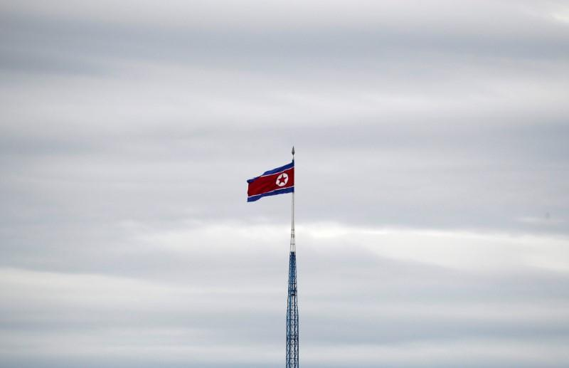 A North Korean flag flutters on top of a 160-metre tower in North Korea's propaganda village of Gijungdong, in this picture taken from the Tae Sung freedom village near the Military Demarcation Line (MDL), inside the demilitarised zone separating the two Koreas, in Paju, South Korea, April 24, 2018. Kim Hong-Ji