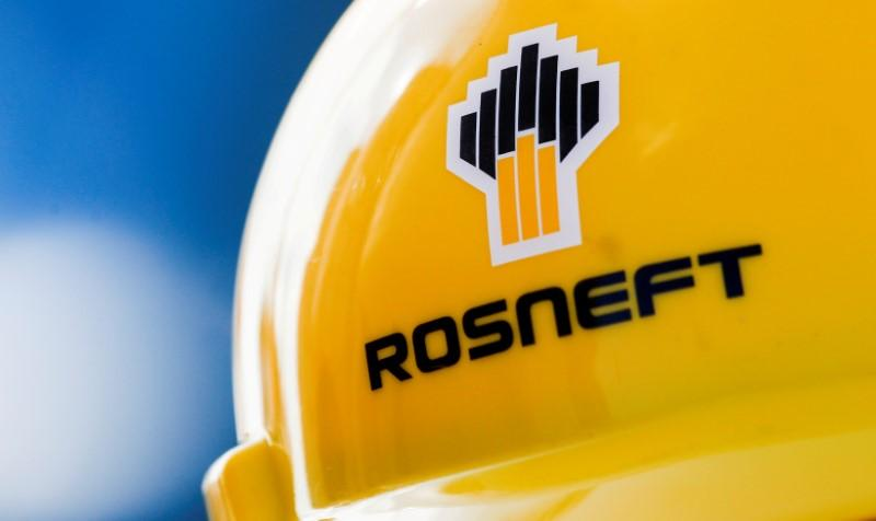 The Rosneft logo is pictured on a safety helmet in Vung Tau, Vietnam April 27, 2018. Maxim Shemetov