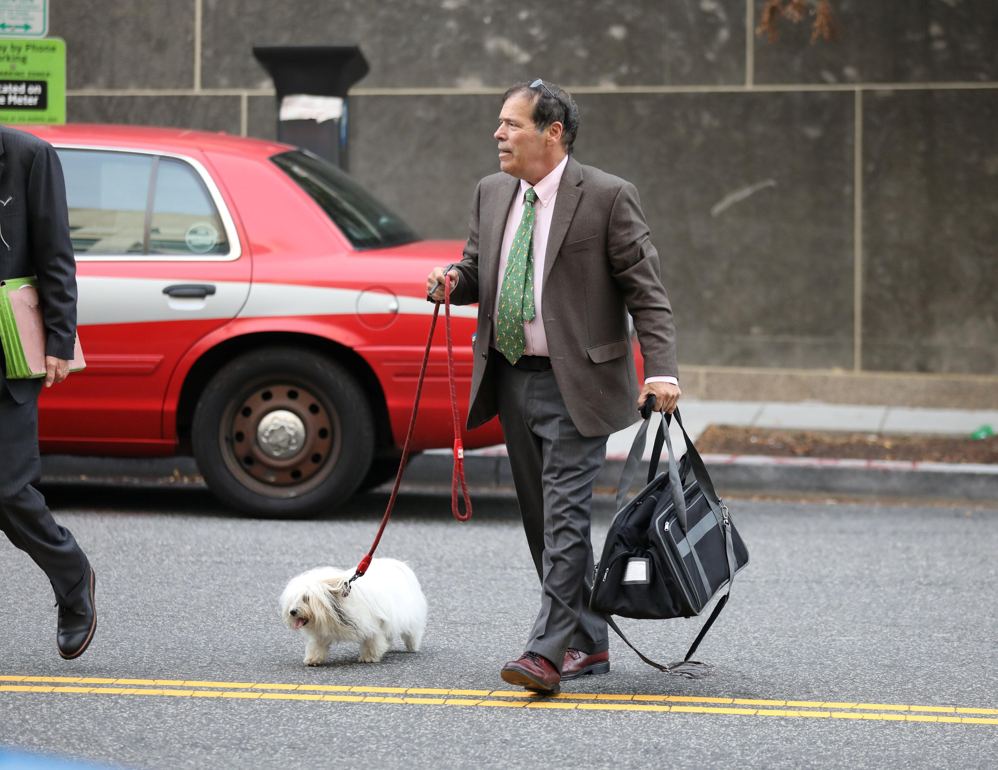 Randy Credico, an associate of former Trump campaign adviser Roger Stone, walks with his pet dog as he arrives to testify before the grand jury convened by Special Counsel Robert Mueller at U.S. District in Washington, U.S., September 7, 2018. Chris Wattie
