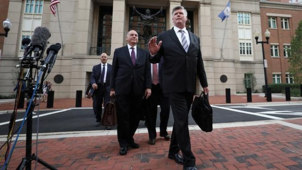 Defense attorney Kevin Downing delivers a statement to journalists at the U.S. District Courthouse following closing arguments in former Trump campaign manager Paul Manafort's trial on bank and tax fraud charges stemming from Special Counsel Robert Mueller's investigation of Russia's role in the 2016 U.S. presidential election, in Alexandria, Virginia, U.S., August 15, 2018. REUTERS/Chris Wattie