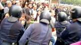 Protesters, police clash in Madrid
