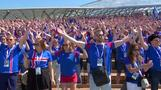 Viking Clap rocks Russia as Iceland fans practice chanting
