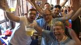 Good vibes among Russia and Uruguay fans as they prepare for clash with a beer party
