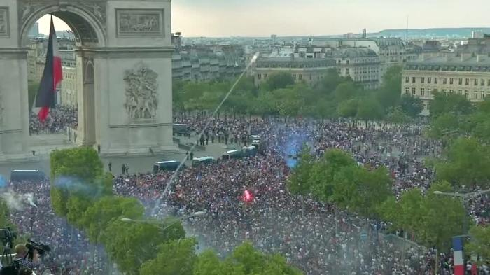 Thousands flock to Champs Elysees to celebrate France World Cup win